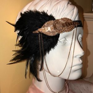 Flapper Beaded and Feathers Headpiece